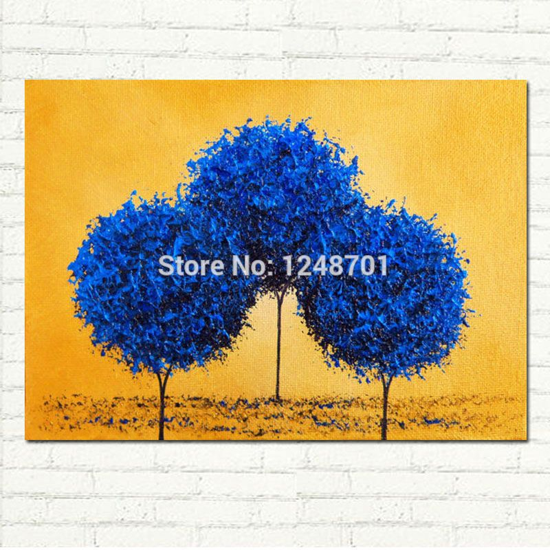Modern abstract blue tree canvas oil painting handpainted wall art ...