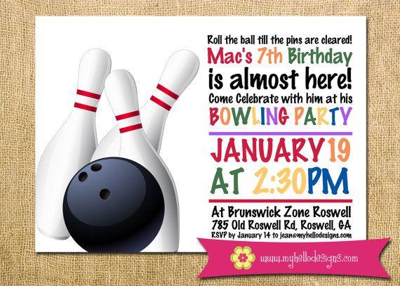 Printable Boy Or Girl Bowling Birthday Invitation