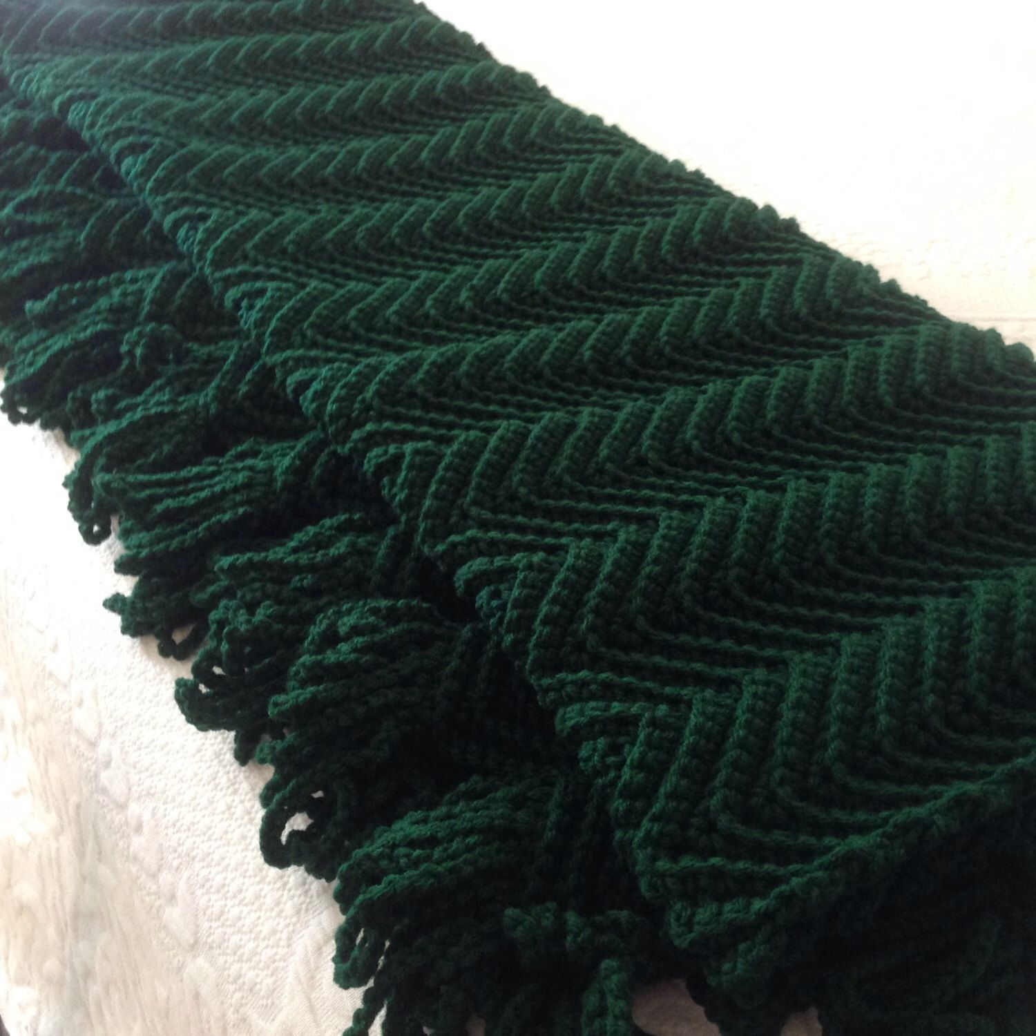 Hunter Green Afghan, Dark Green Throw, Solid Green Blanket, Hand ...
