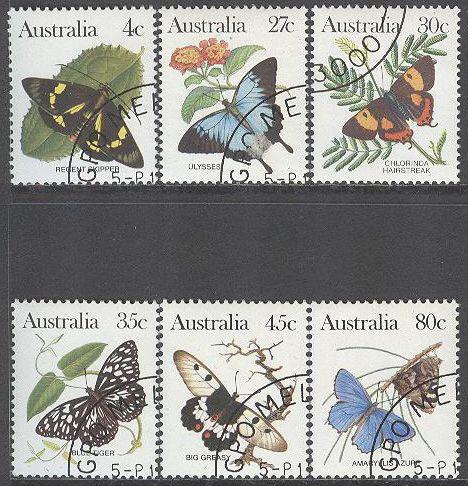 Australien - M  839, 842-846 Hotade djur - Fjärilar, serie 6 olika