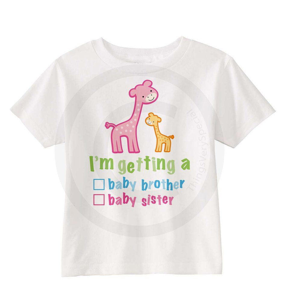 Gender reveal shirt giraffes with the words im getting a