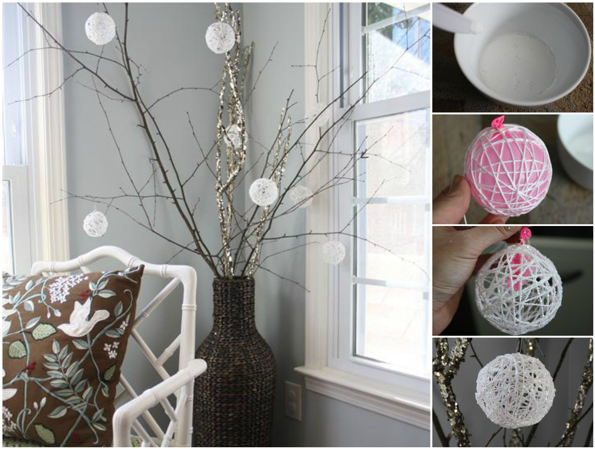 DIY Glittery Snowball Christmas Ornaments