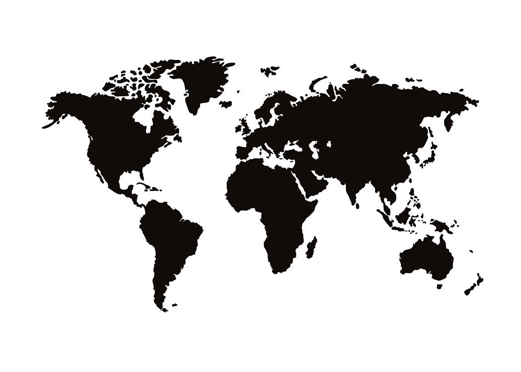 black and white print with a world map