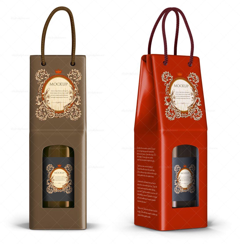 Download Rope Handle Wine Paper Bag Mockup Packaging Mockup Mockup Packaging