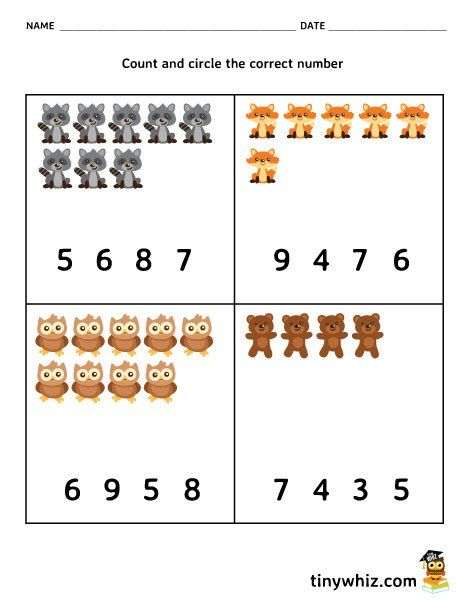 Math Free Counting Worksheet For Pre-K and Kindergarten ...