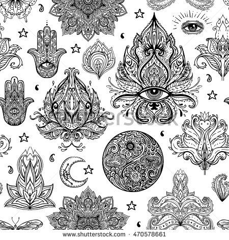 Seamless pattern of Ornamental Boho Style Elements Vector - tattoo template