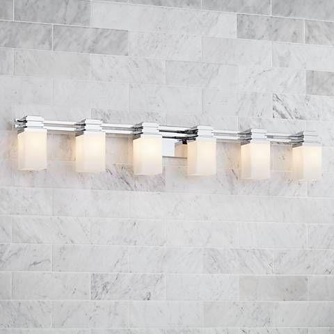 Magnificent Possini Euro Design 48 1 2 Wide 6 Light Chrome Bath Light Download Free Architecture Designs Jebrpmadebymaigaardcom