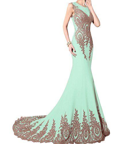 Kings Love Womens Gold Lace Sleeveless Mermaid Prom Dresses Mint US2 ...