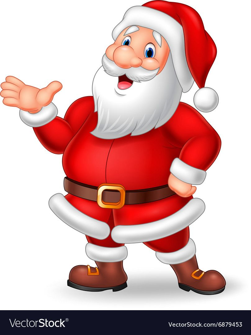Illustration Of Cartoon Santa Presenting Isolated On White Background Download A Free Preview Or High Qual Santa Claus Images Santa Pictures Christmas Vectors