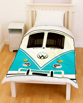 Blue VW Volkswagen Mini Vans Mini Bus Throw Fleece Blanket  2667a812b