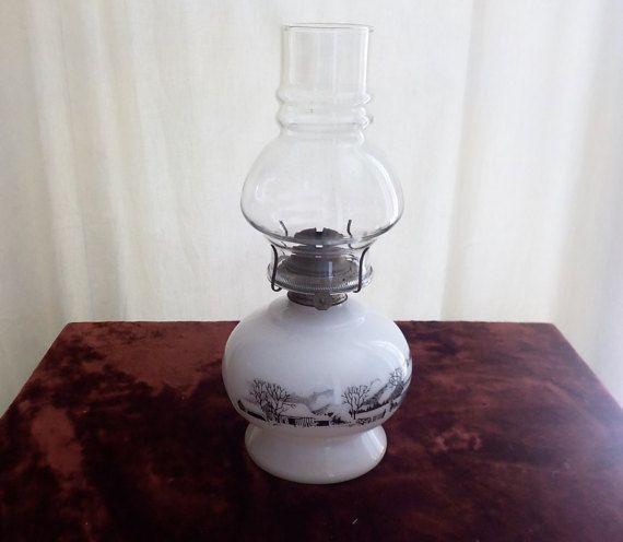 Currier And Ives Kerosene Oil Lamp Milk By Irishhillsemporium Unique Lamps Vintage Lamps Oil Lamps