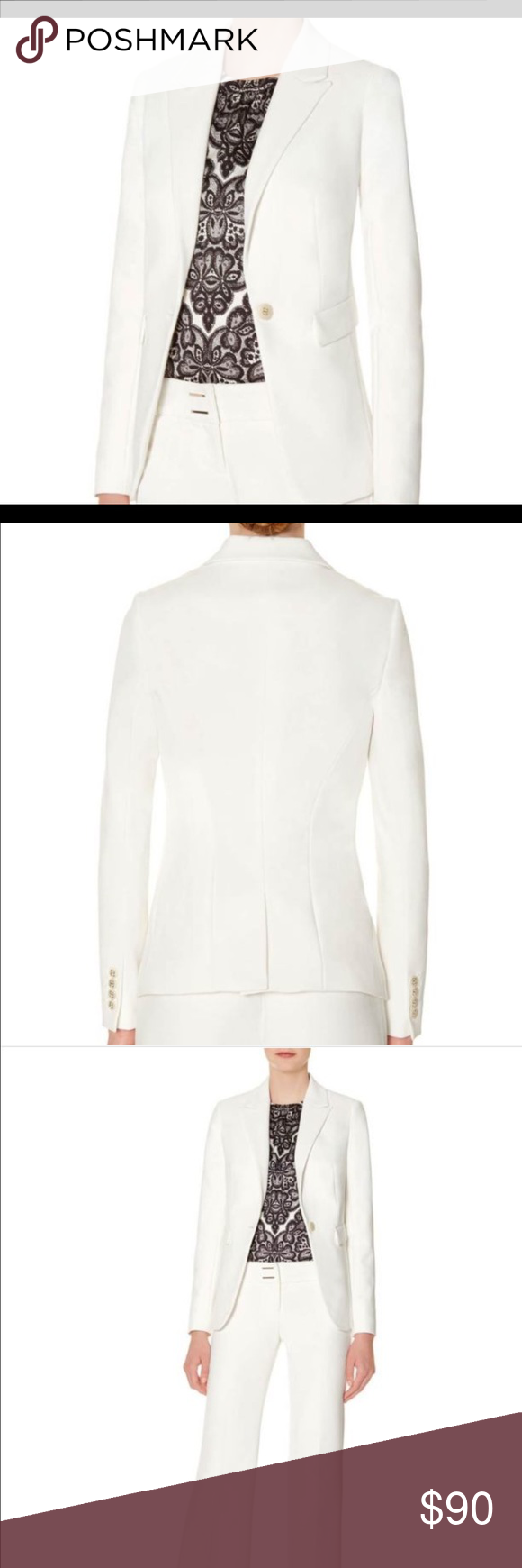 "White the limited scandal collection blazer The Limited collection inspired by SCANDAL embodies the aesthetic of Olivia Pope for real-life Gladiators and everyday fashionistas. Elevated fabrics and details have a luxurious look and feel for powerfully sophisticated styling! Clean, rich woven fabric Peaked lapels, 1-button front Flap front pockets Full sleeves with decorative 4-button cuffs Fully lined From centerback to hem: Regular=25"" Outshell: 63% Polyester/ 33% Viscose/ 4% Spandex…"
