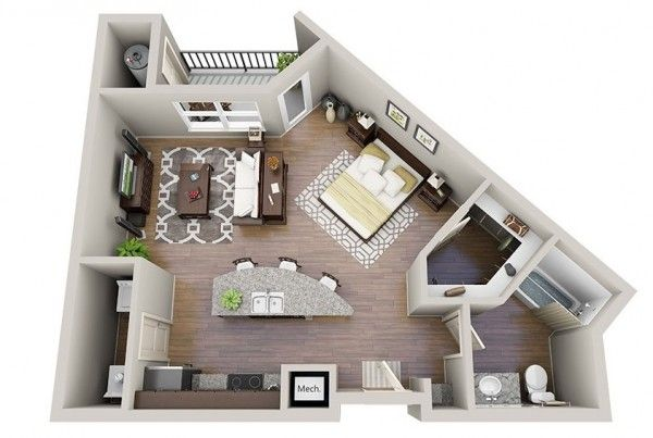 Space Saving Studio Layout Homes Pinterest House