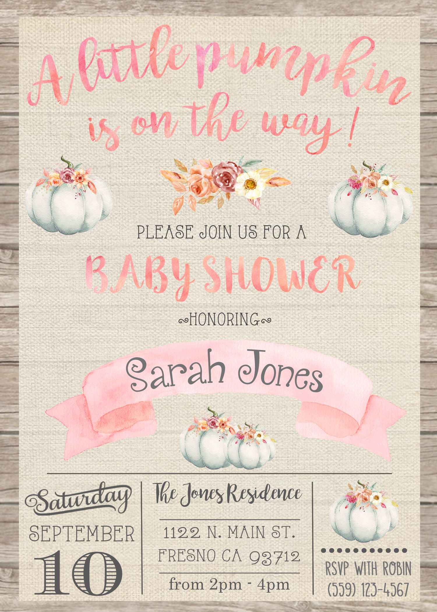 Little Pumpkin Baby Shower Invitation Invite Rustic Shabby Chic Pink ...