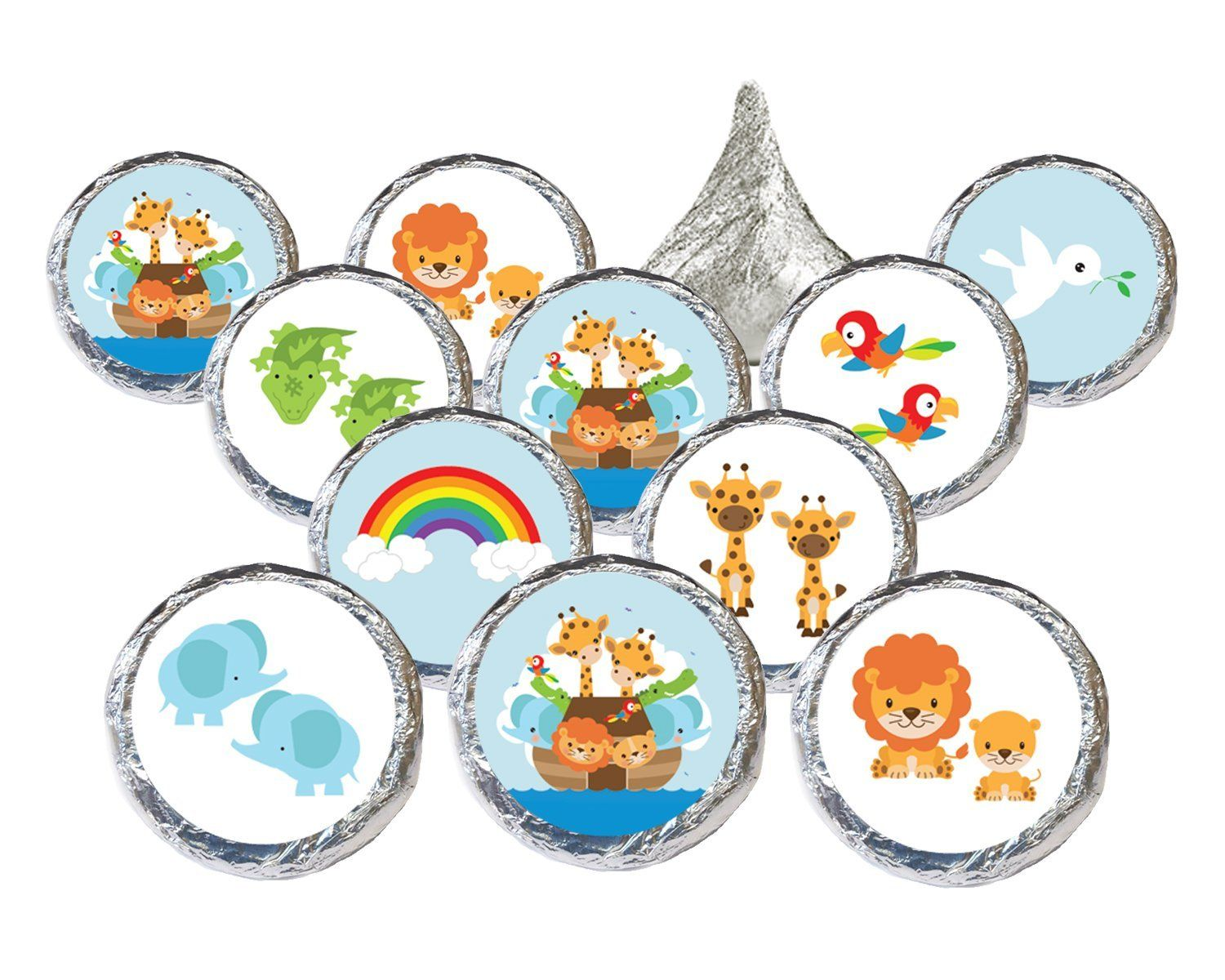 Our Noah\'s Ark Baby Shower Stickers for Hershey Kiss feature the Ark ...