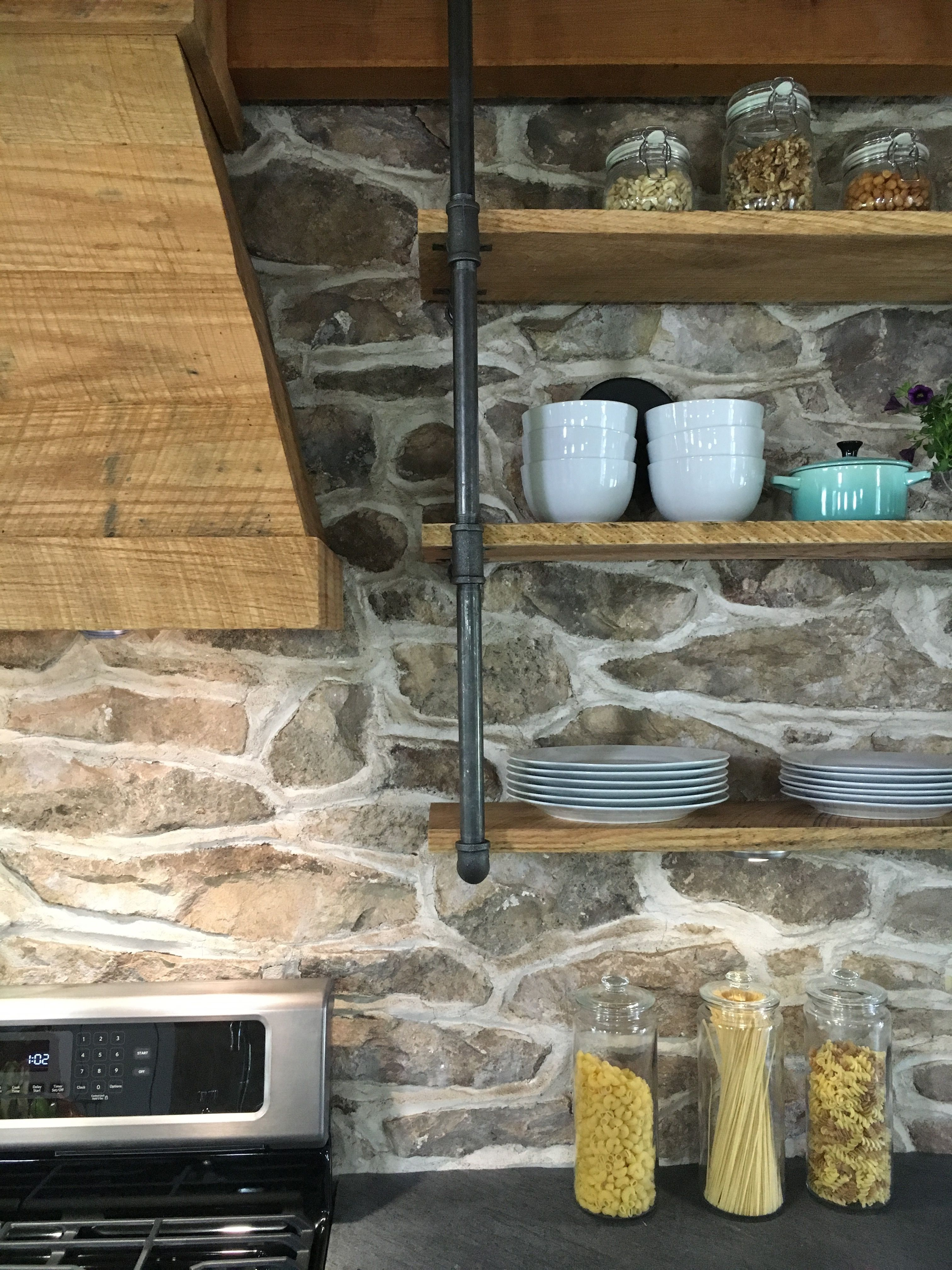 Farmhouse Kitchen Exposed Stone Backsplash Stone House Revival