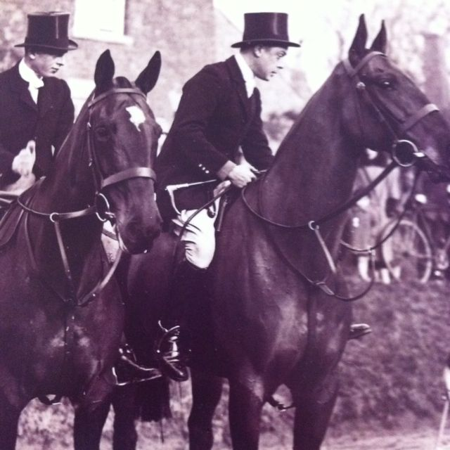 The Prince of Wales and his brother Prince George hunting with The Quorn Hunt 1932. From Vickers book.