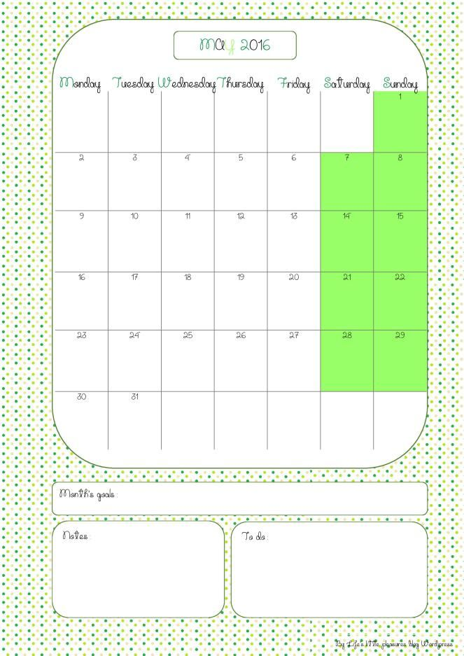 Calendarmay2016-page-001(1) https://lifeslittlepleasuressite.wordpress.com/2016/04/21/les-calendriers-de-mai/ free printable
