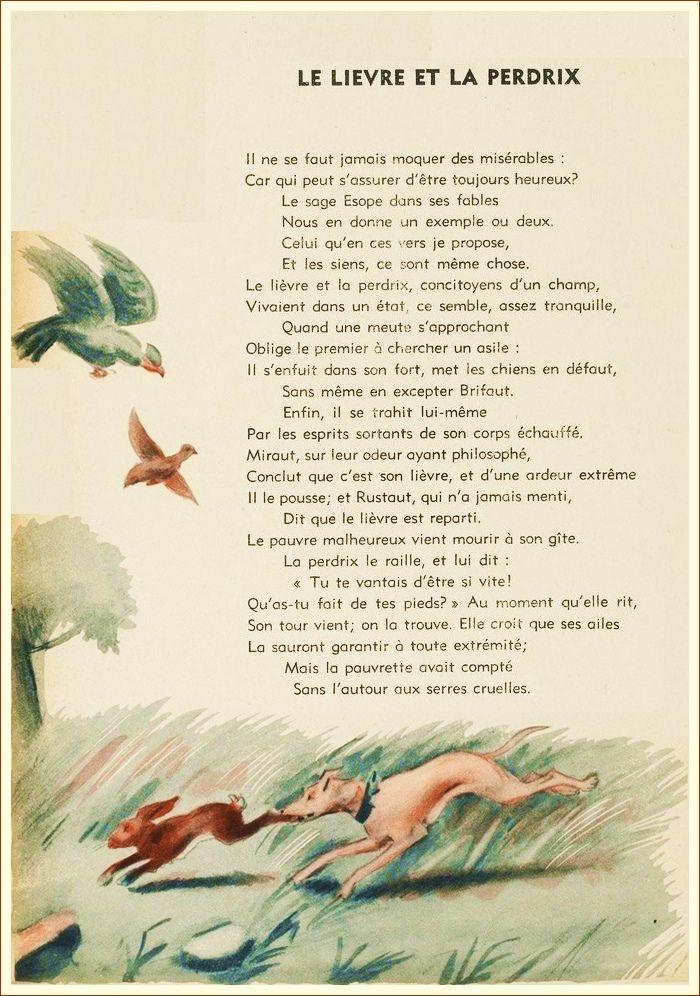 Le lièvre et la perdrix   Fables de la fontaine, Les ...