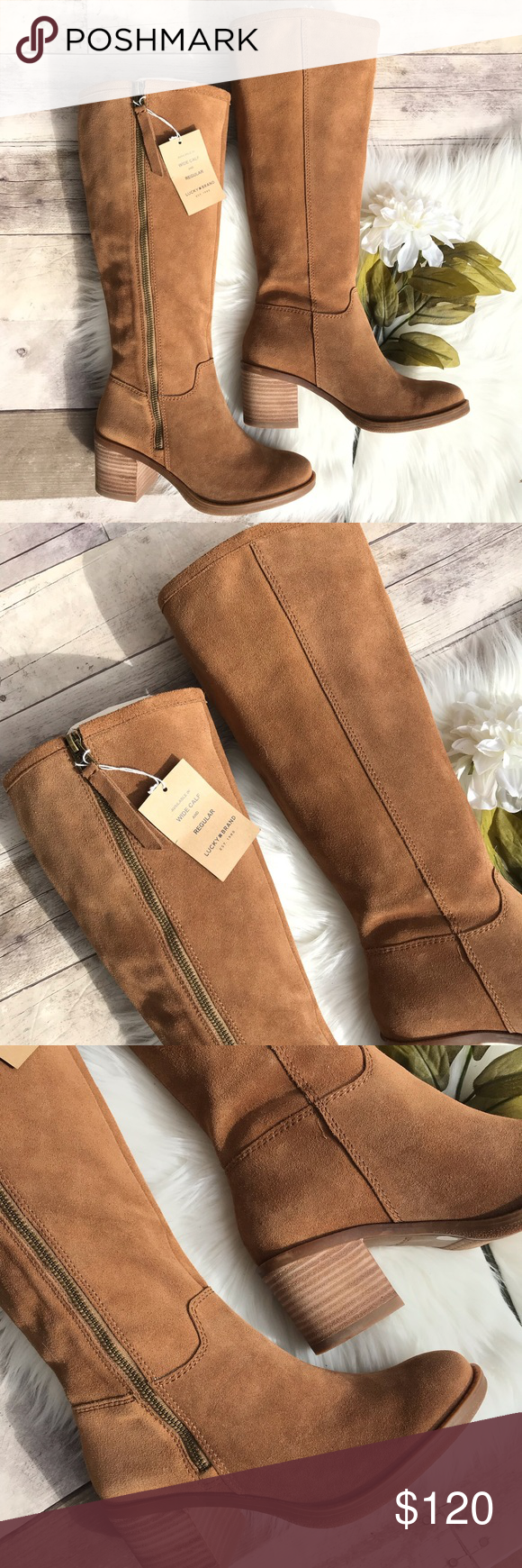 "4857bbe3345 NWOB Lucky Brand Resper Knee High Boot SZ 6.5 Brand  Lucky Brand Size  6.5M Wide  calf (WC) Color  ""Honey 01"" Materials  Suede upper"
