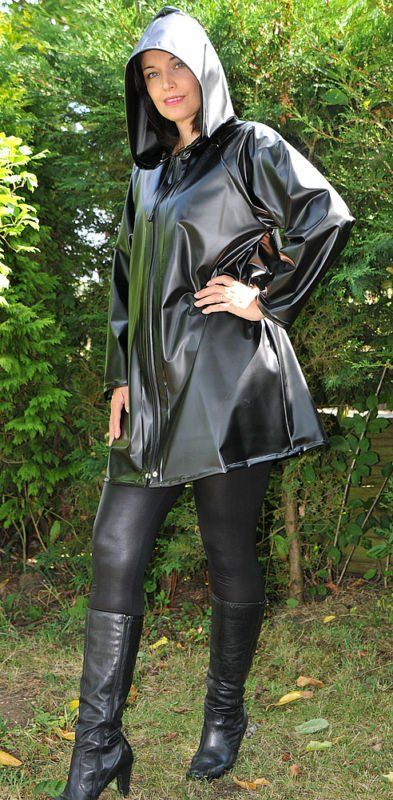 Black raincoat and boots