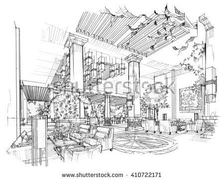 Sketch Black And White Interior Design