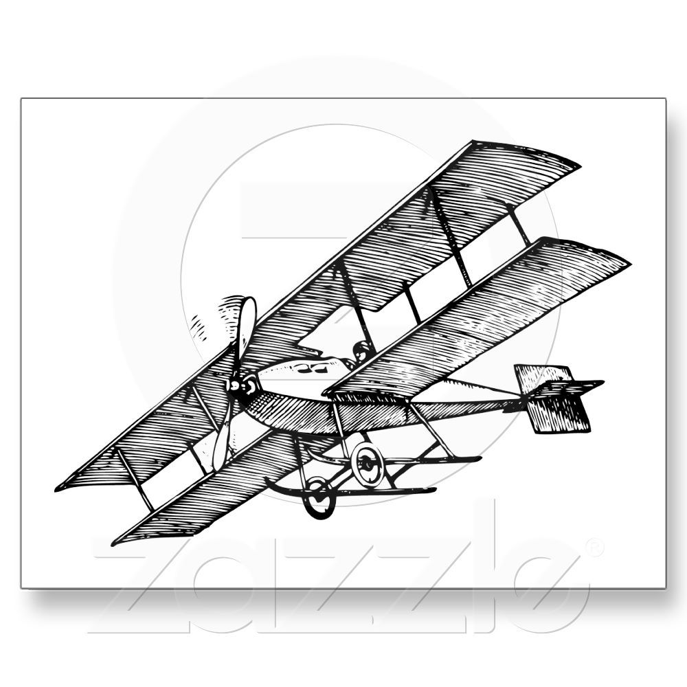 Biplane Aircraft 1900s Vintage Airplane Postcard
