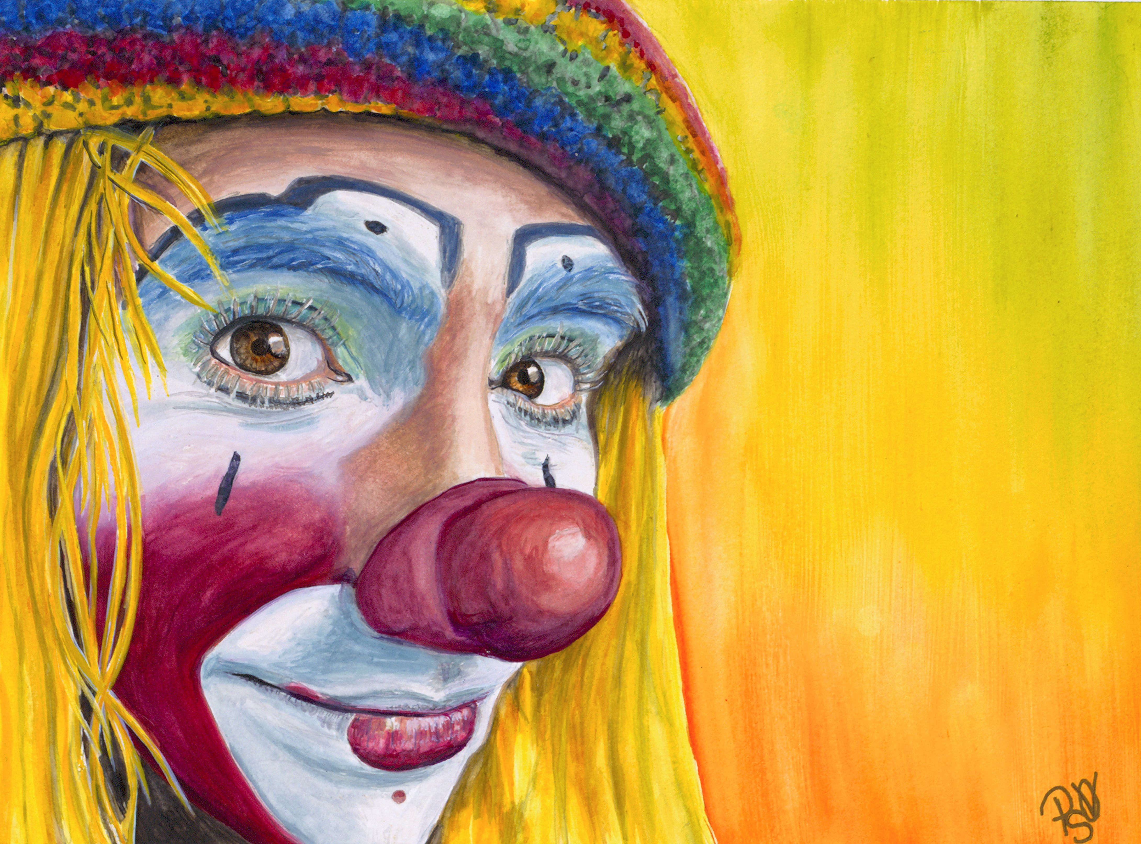 Giclee Print - Watercolor Clown #22 Daniel Flores AKA Pedalito    Fine Art Paper or Canvas    Giclee Print Size: 9 X 12 , 11 X 14, or 16 X 20inches    Frame: Unframed    Signed on back and on comes with signed Certificate of Authenticity    The canvas will have black sides and have a wire ready for hanging.    The paper upon which the ink was applied is fine art paper : acid free, lignin chlorine free, smudge resistant. Avoid touching the surface of the print. Required framing under glass.