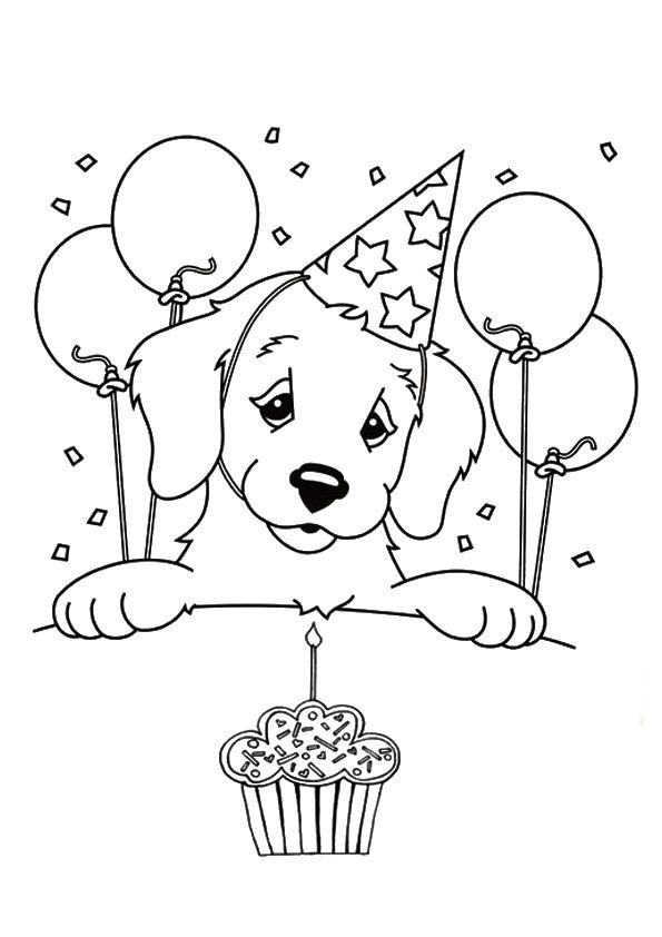 Print Coloring Image Puppy Coloring Pages Birthday Coloring