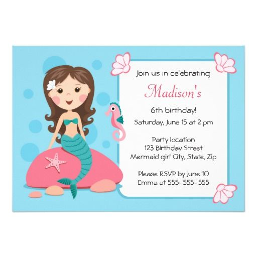 Little mermaid girl cute girly birthday invitation stopboris Gallery