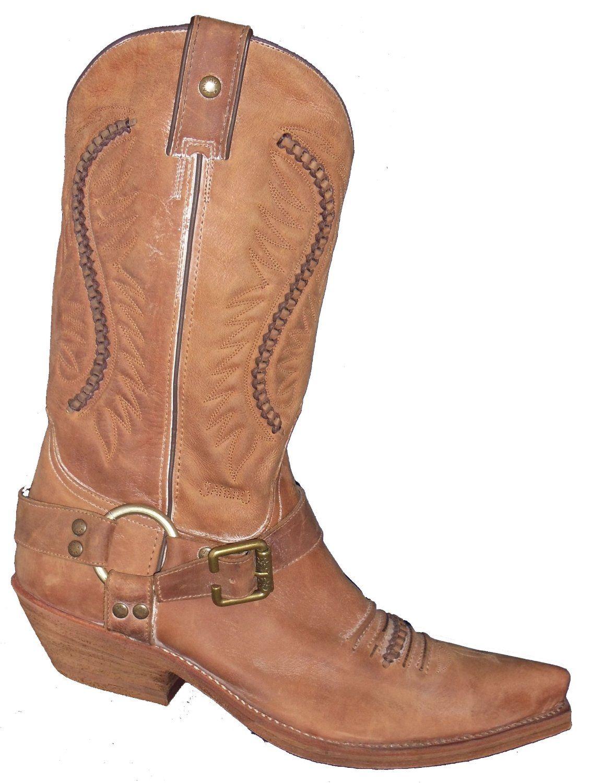 ac8d463541f SANCHO Men's boots Genuine Leather Cowboy Brown Biker Leather Shoes ...
