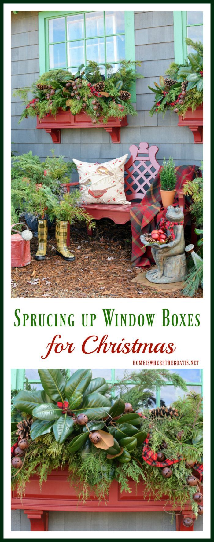 Sprucing up the window boxes for Christmas with greenery, pine cones, tartan ribbon and jingle bell garland | homeiswheretheboatis.net #PottingShed