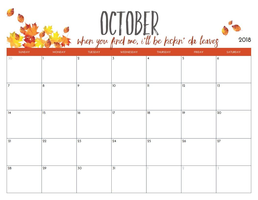 photograph relating to October Calendar Printable titled Oct 2018 Calendar Regular PDF Oct 2018 Calendar