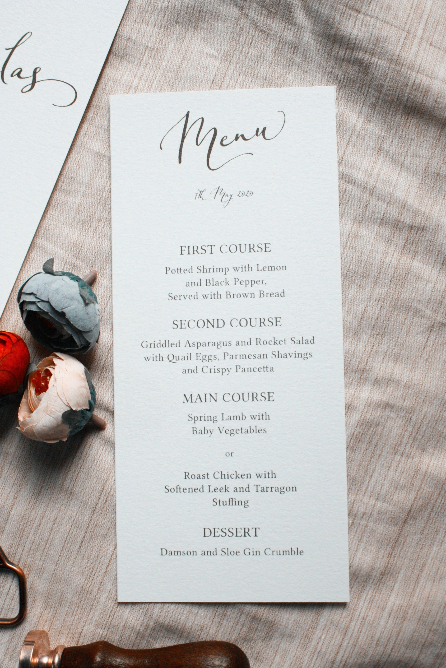 Elegant Wedding Menu Script Wedding Menu Aquarelle Wedding