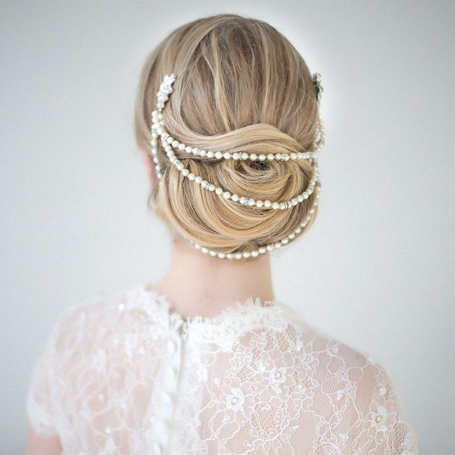 Wedding Upstyles  Bridal Hairdos :: Bun draped in Pearl Headpiece from Powder Blue Bijoux :: Photography by www.maruphoto.ca