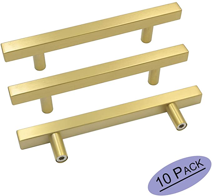 Goldenwarm 10 Pack Brushed Brass Cabinet Pulls Gold Cabinet Hardware Handle Pull Ls1212gd128 In 2020 Brass Cabinet Handles Dresser Drawer Handles Brass Cabinet Pulls