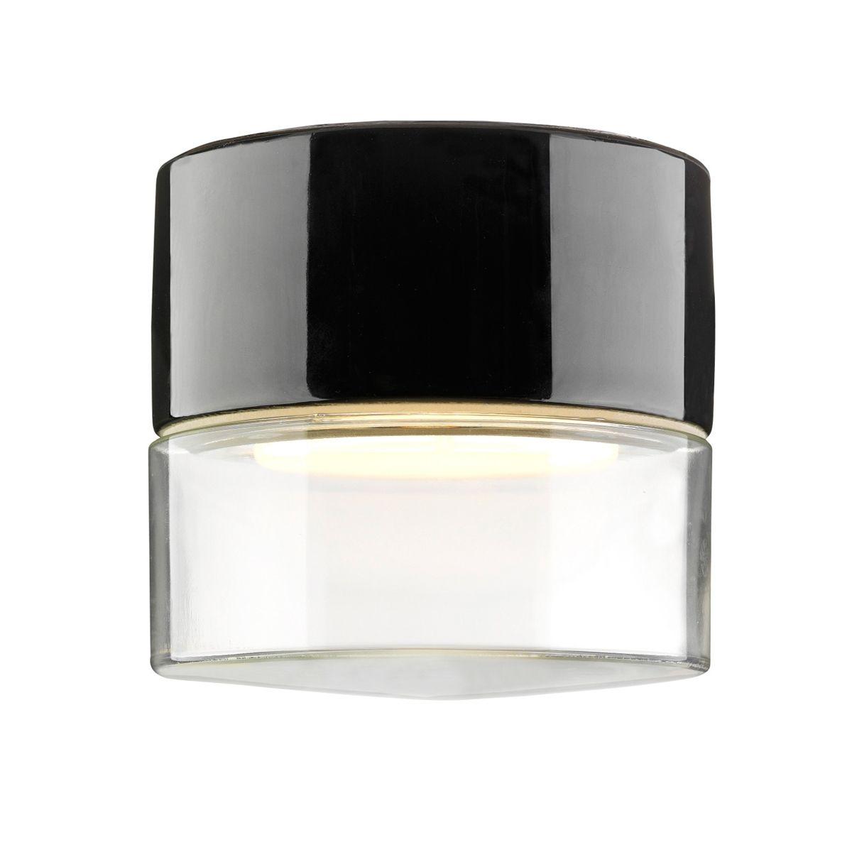 Support en céramique noir avec verre transparent