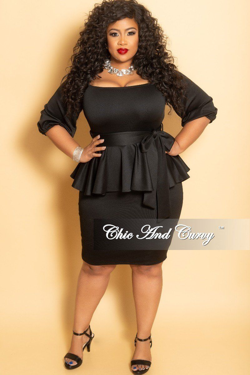 2cac56c6bc82f Plus Size Off the Shoulder Peplum BodyCon Dress with Attached Tie – Chic  And Curvy