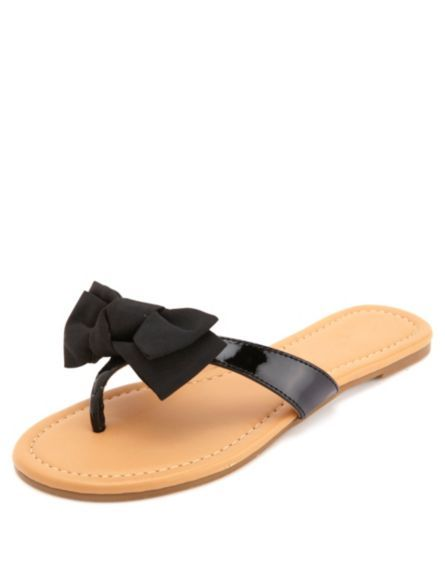 b8b47ceabfdf Bow-Topped Patent Thong Sandals  Charlotte Russe