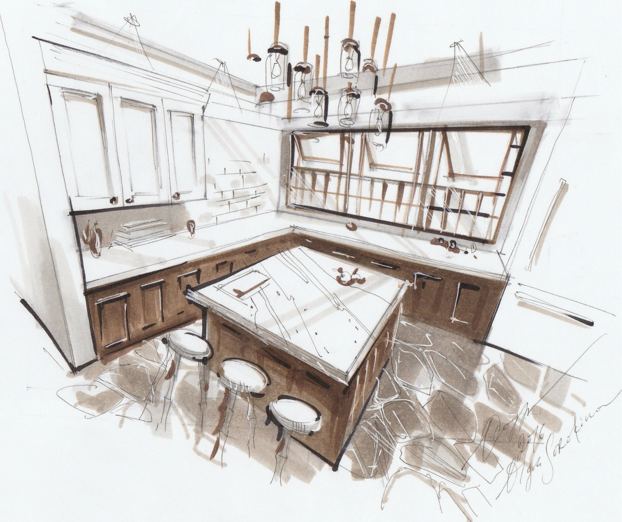 Sketch of a kitchen room in 3 point perspective 4 video lessons interior sketching with markers advanced level sketching school by olga sorokina
