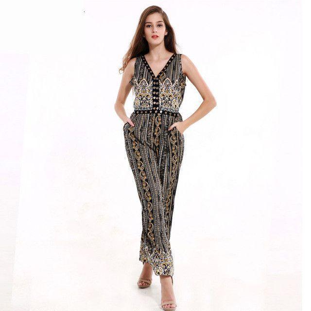 3b195d6781d Lztlylzt New Sale Jumpsuit Classic Print Womens 2016 Summer Sexy Elegant  Vintage One Piece Romper Women Cloth Combinaison Femme