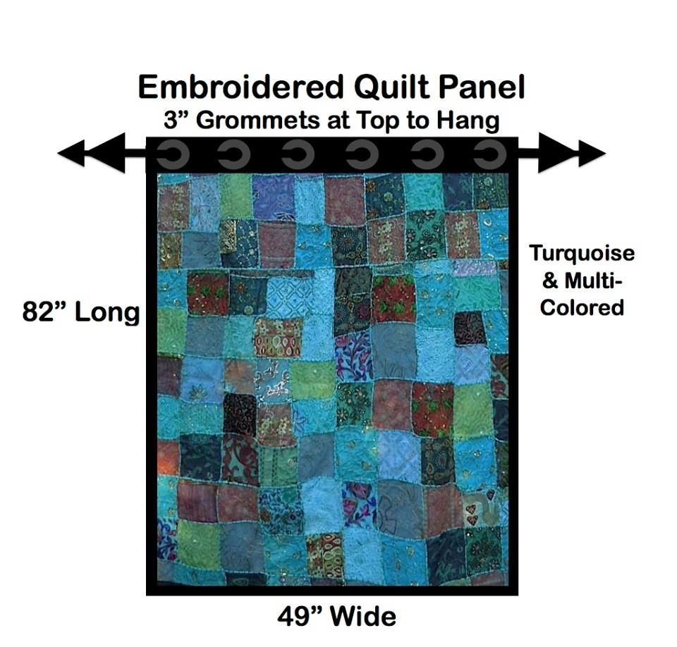 Embroidered Crazy Quilt Panels that match in color themes so can use one or two together. Color themes: Turquoise, Yellow, Green, Black/ Purple. Will sell if you make an offer to buy.