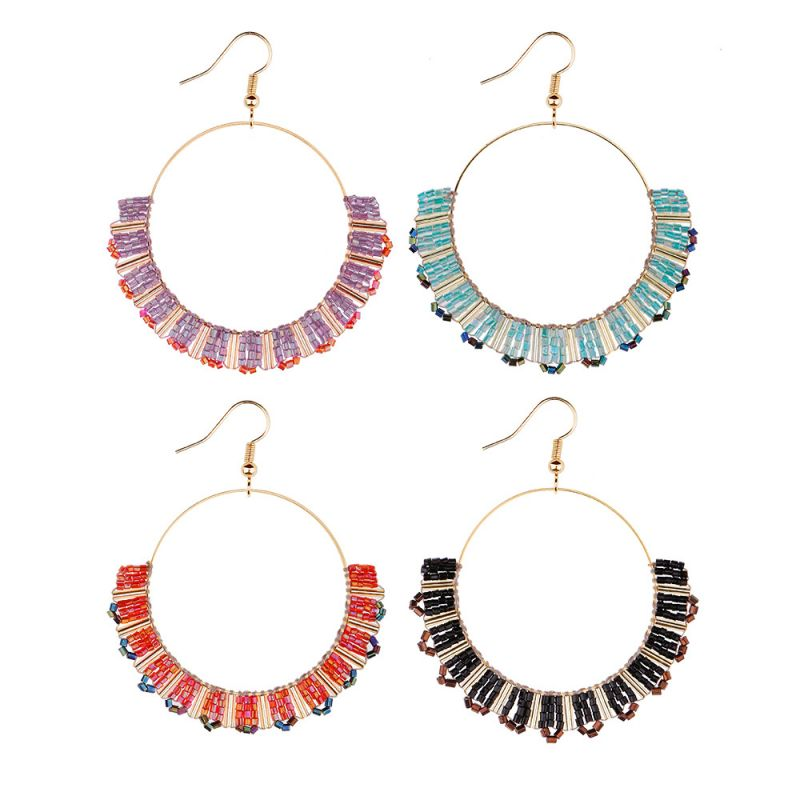 Beads Crystal Handmade Big Hoop Earring For Beach Big Hoop Earrings Crystal Beads Earring Store