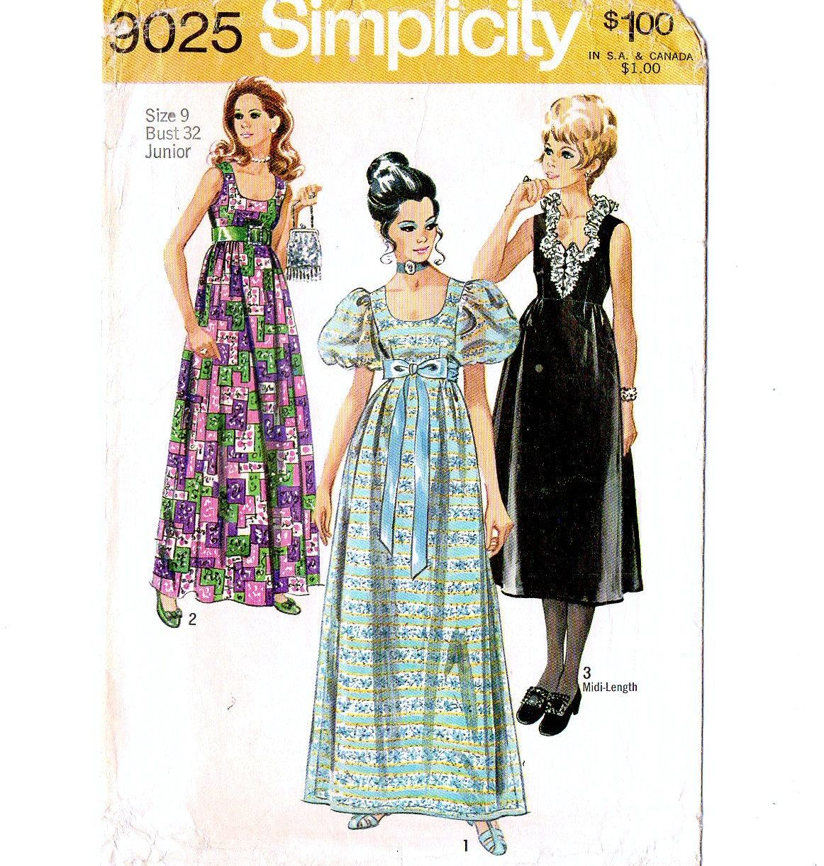 Simplicity 9025 Miss Evening Dress 70s Vintage Sewing Pattern Size 9 Bust 32 Prom Gown High Waist Evening Dress Patterns Vintage Outfits Vintage 1950s Dresses [ 1222 x 1162 Pixel ]