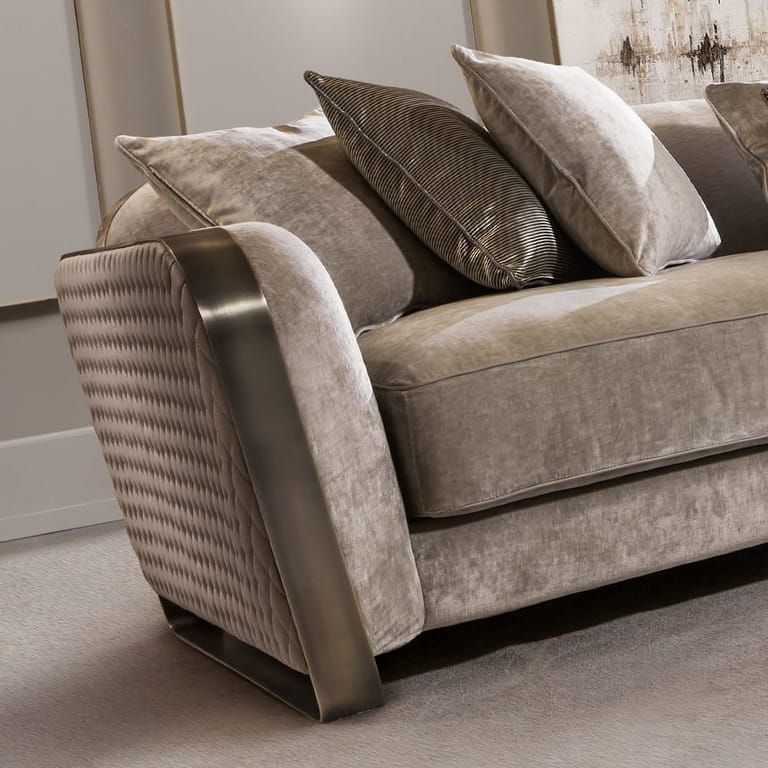 High End Contemporary Italian Designer Quilted Leather Sofa