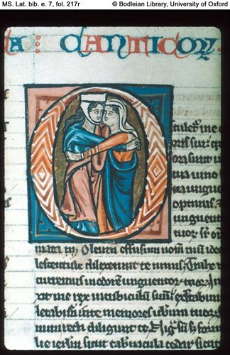 MS. Lat. bib. e. 7  Bible, with select Masses, in Latin England, Oxford; 13th century, first half Illuminated in the style of, and perhaps by, William de Brailes fol. 217r (detail) Song of Solomon. Initial O(sculetur). Solomon embraces a woman.