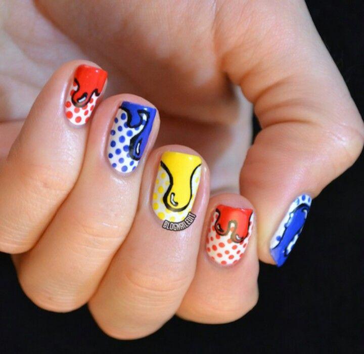 Comic Nail Art Nail Art Pinterest Comic Nail Art Nail Nail