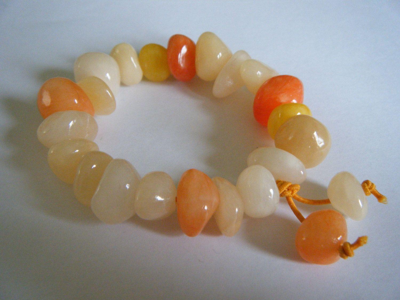 Jade bracelet. Jelly bean style dyed Jade semi-precious gemstone stretch bracelet by jaynebrownjewellery on Etsy