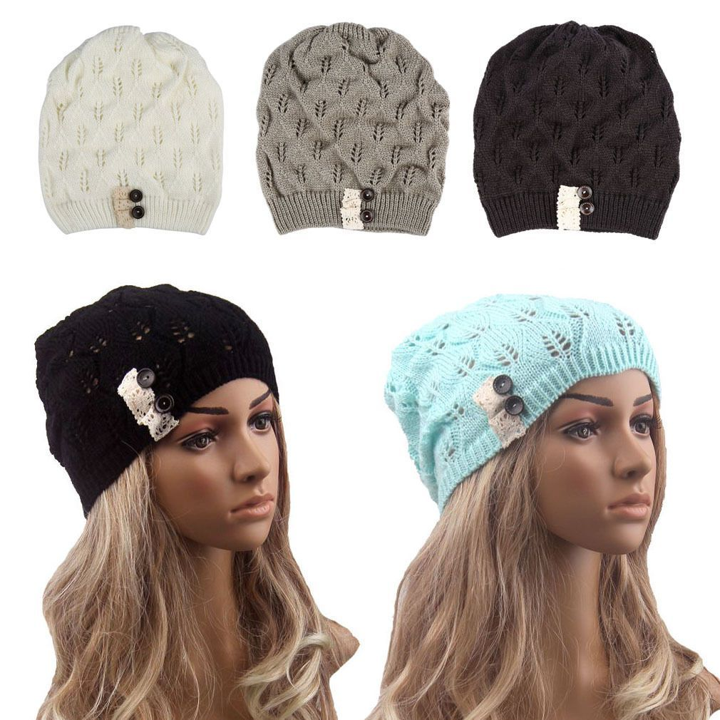 Women Winter Warm Knitted Crochet Slouch Baggy Beret Beanie Hat Lace ...