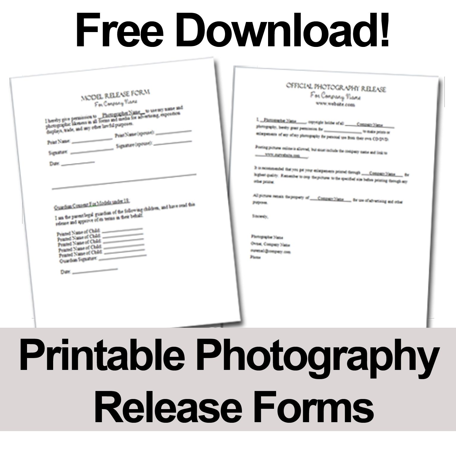 print these free photography release forms to give your clients